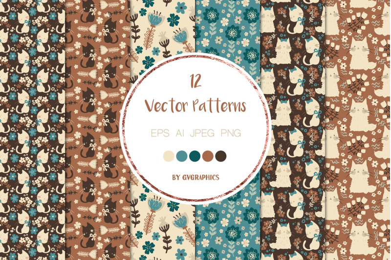 12-cats-and-flowers-vector-patterns-and-seamless-tiles