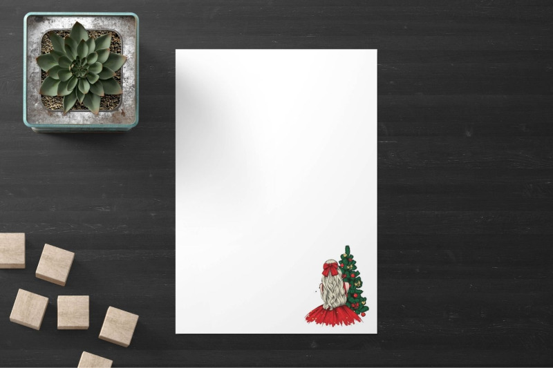 stylish-girl-with-christmas-tree-stationery