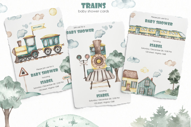 trains-watercolor-collection