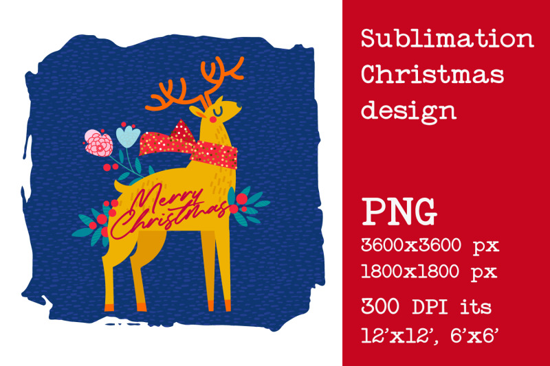 sublimation-christmas-deer-design