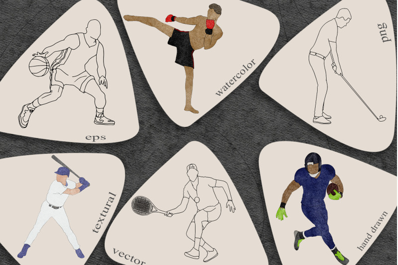 watercolor-and-vector-sportsman-hand-drawn-clipart