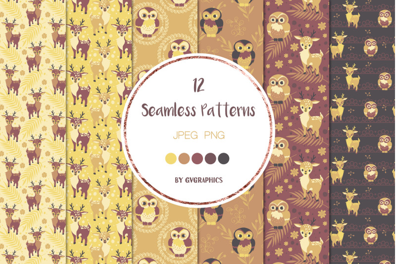 12-animals-in-the-woods-seamless-patterns