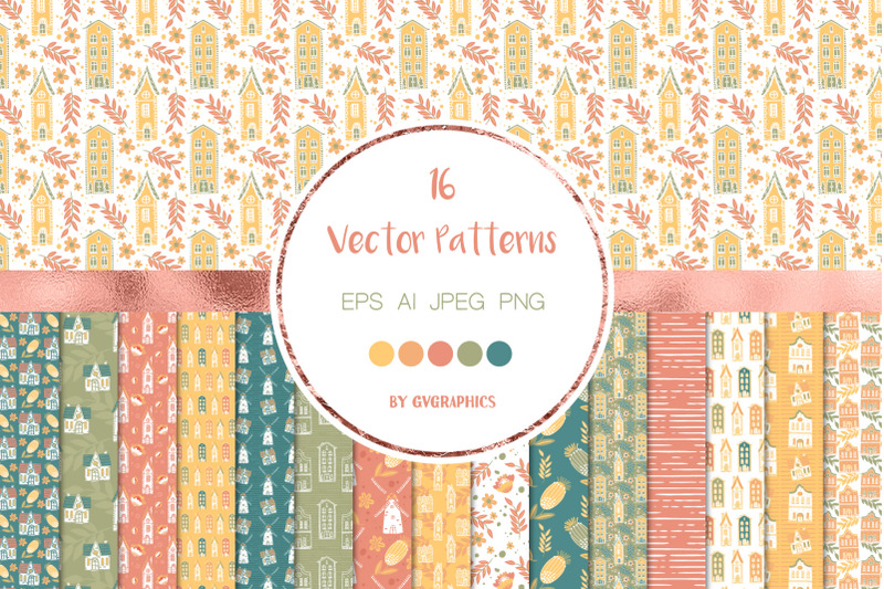 16-spring-house-vector-patterns-and-seamless-tiles