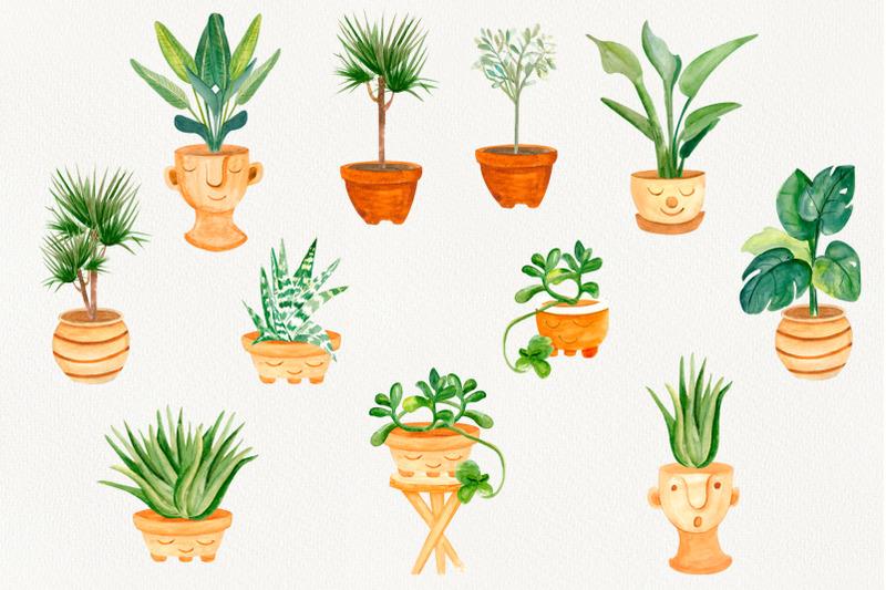 house-plants-boho-home-decor-watercolor-clipart