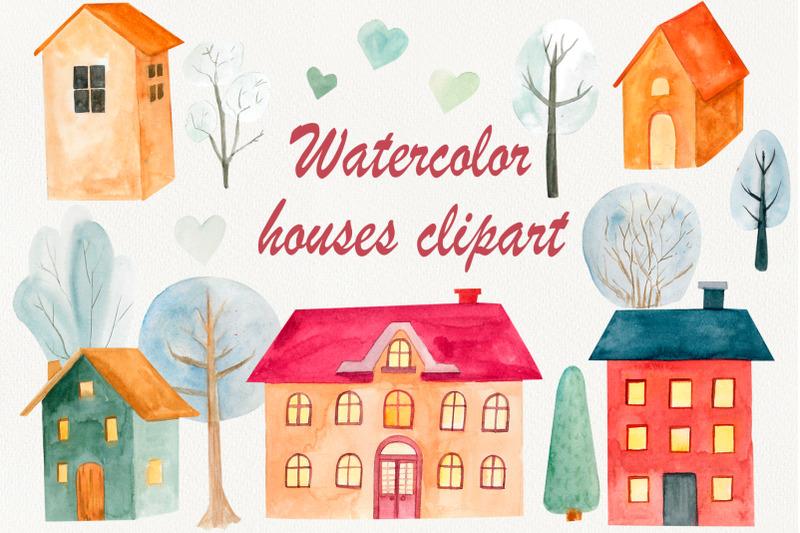 christmas-village-watercolor-house-clipart