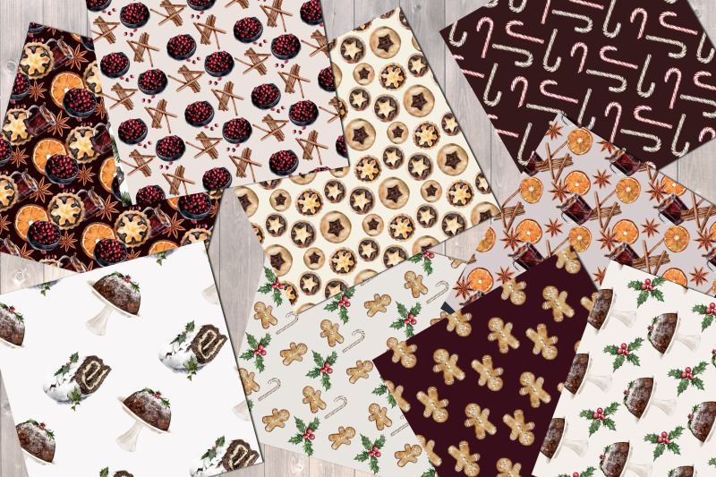 christmas-treats-digital-paper-pack-patterns-festive-classic
