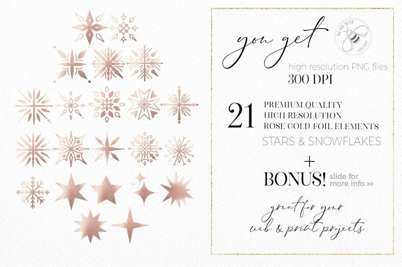 rose-gold-snowflakes-stars-christmas-digital-elements-png