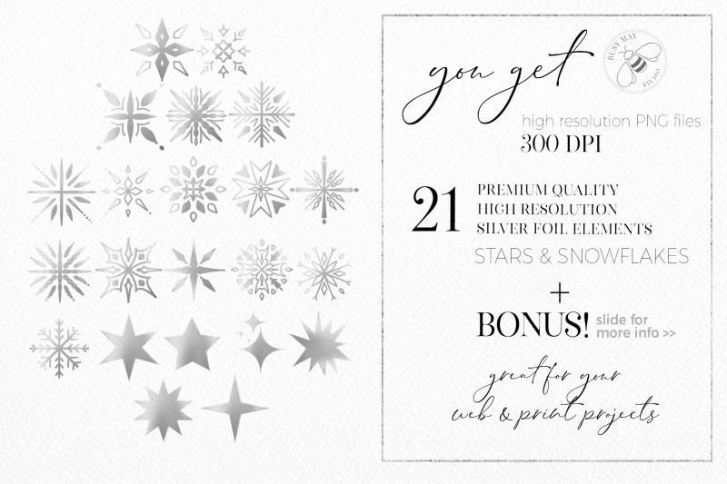 silver-snowflakes-stars-digital-foil-logo-elements-christmas
