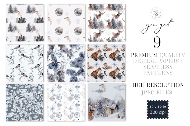 winter-christmas-digital-paper-pack-festive-design-pattern