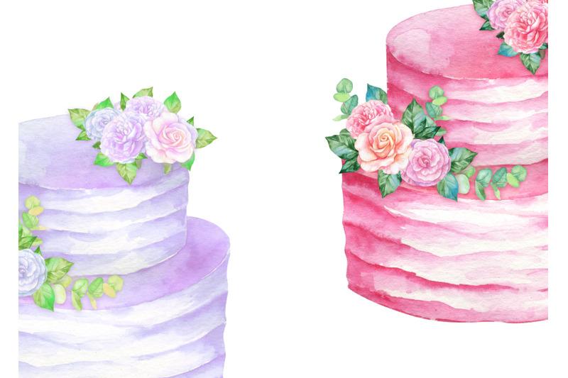 watercolor-cakes-clipart-birthday-cake-wedding-dessert-bakery-clip-art