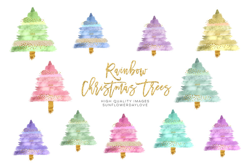 modern-christmas-tree-clip-art-collection-glitter-brush-strokes