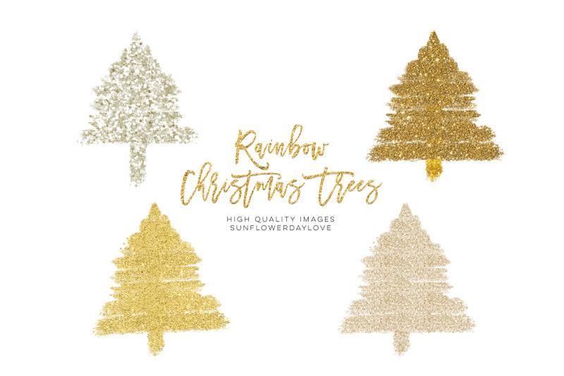 rainbow-christmas-tree-clipart-boho-gold-glitter-christmas-clip-art