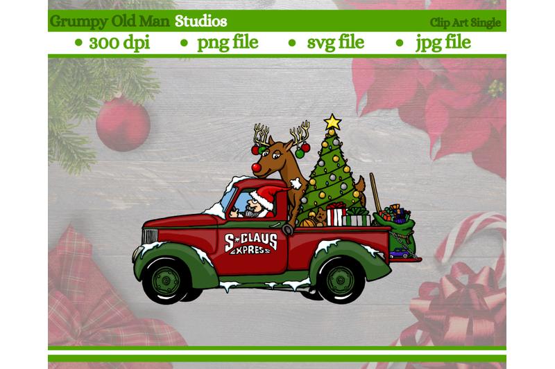 cartoon-christmas-classic-truck-clip-art-santa-driving-a-truck