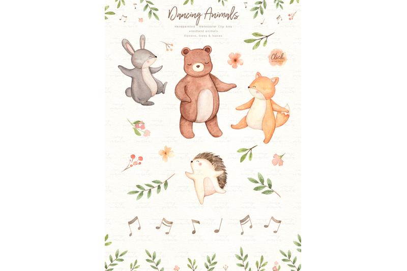 dancing-animals-watercolor-clip-arts