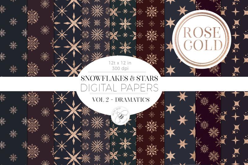 christmas-digital-paper-pack-rose-gold-snowflakes-star-dark