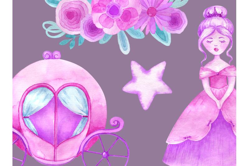 watercolor-princess-clipart-castle-crown-carriage-clip-art-magical
