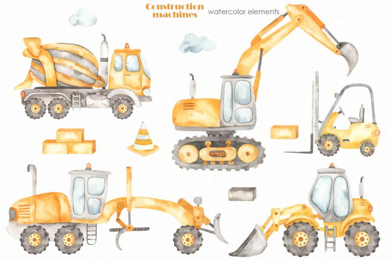 construction-machines-watercolor