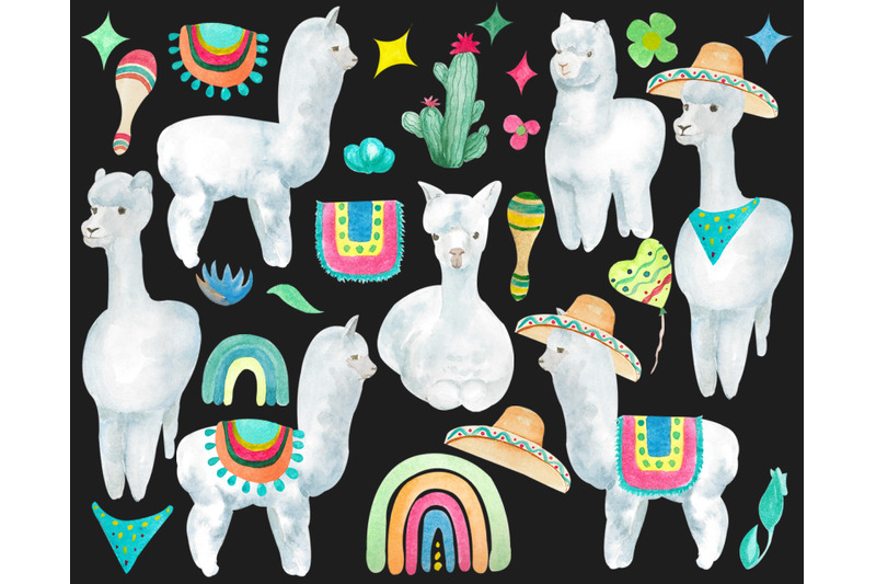 watercolor-llama-clipart-baby-shower-clip-art