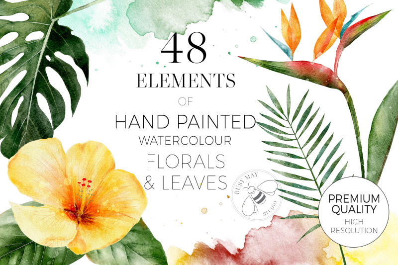 tropical-watercolour-flowers-florals-leaves-watercolor