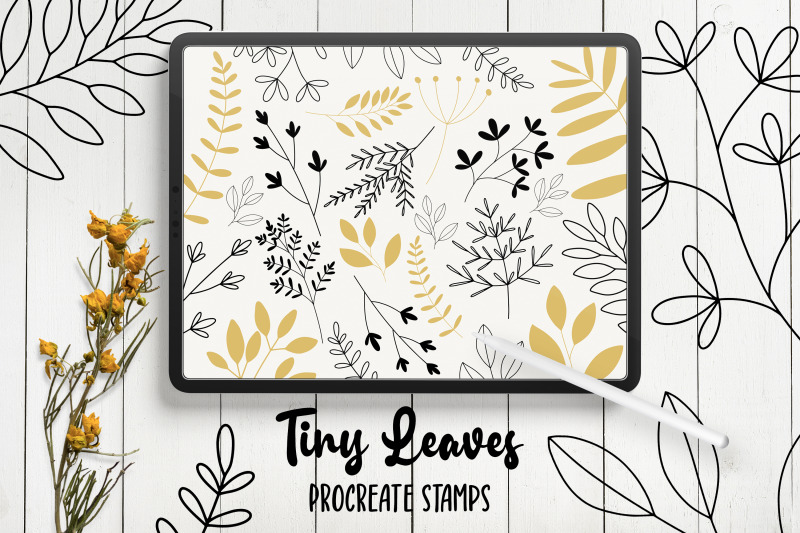 hand-drawn-leaves-procreate-stamp-brushes