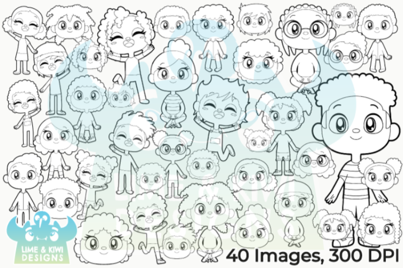 african-american-kids-digital-stamps-lime-and-kiwi-designs