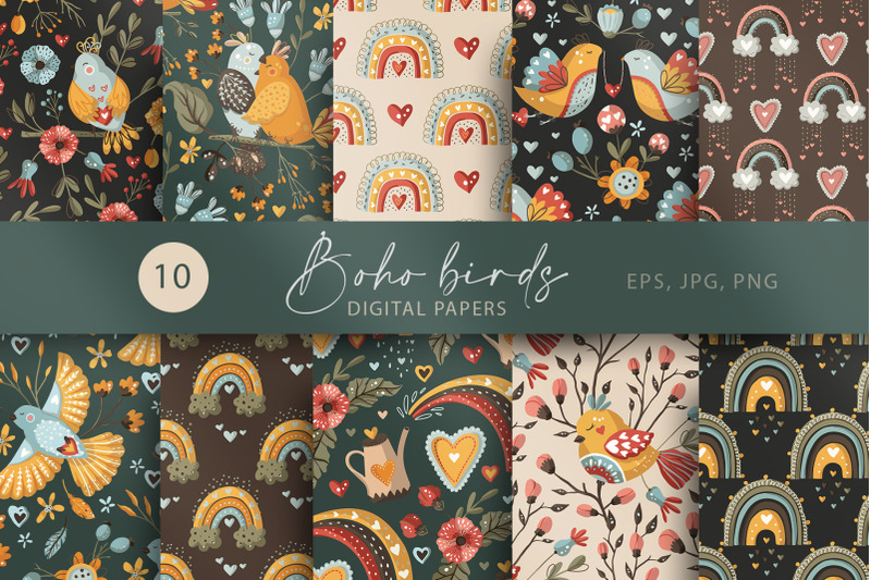 boho-bird-and-rainbow-seamless-pattern-set