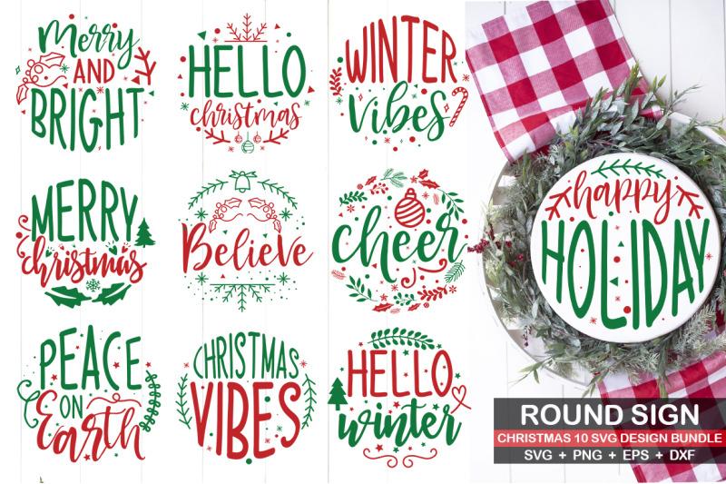 round-christmas-svg-bundle