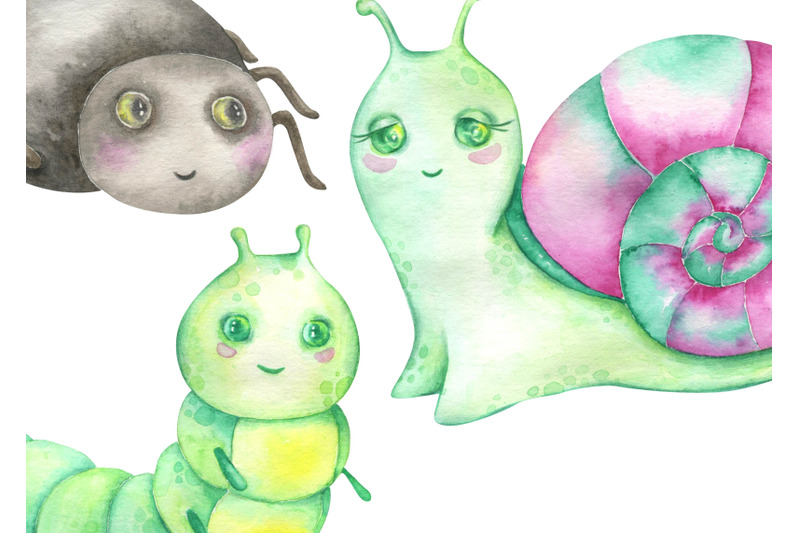 watercolor-insects-clipart-snail-ant-dragonfly-butterfly-caterpillar