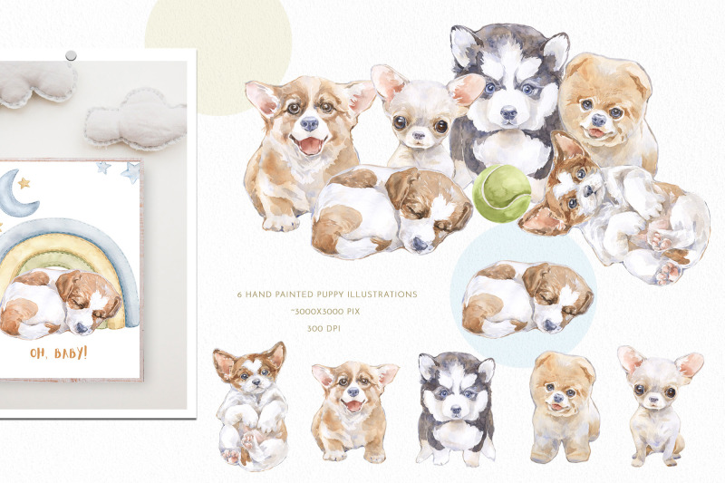puppy-dream-baby-watercolor-clipart