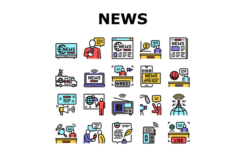 news-broadcasting-collection-icons-set-vector