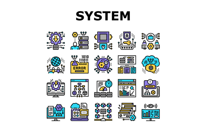 system-work-process-collection-icons-set-vector