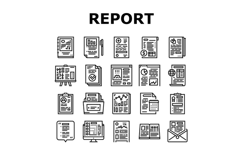 reports-documentation-collection-icons-set-vector
