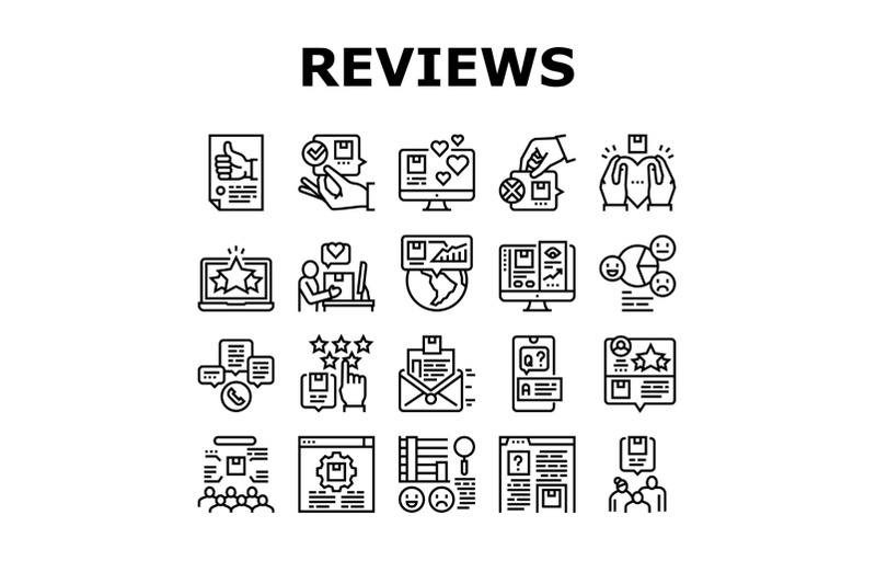 reviews-of-customer-collection-icons-set-vector