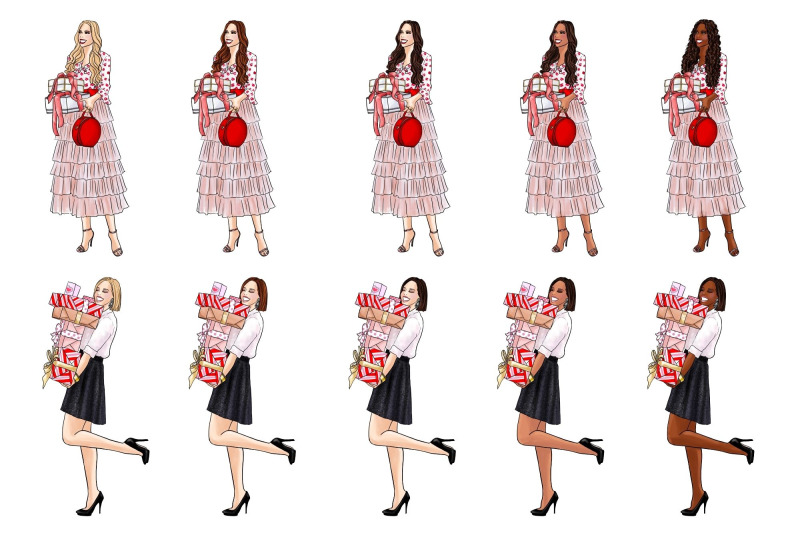 girls-with-gifts-fashion-clipart-set