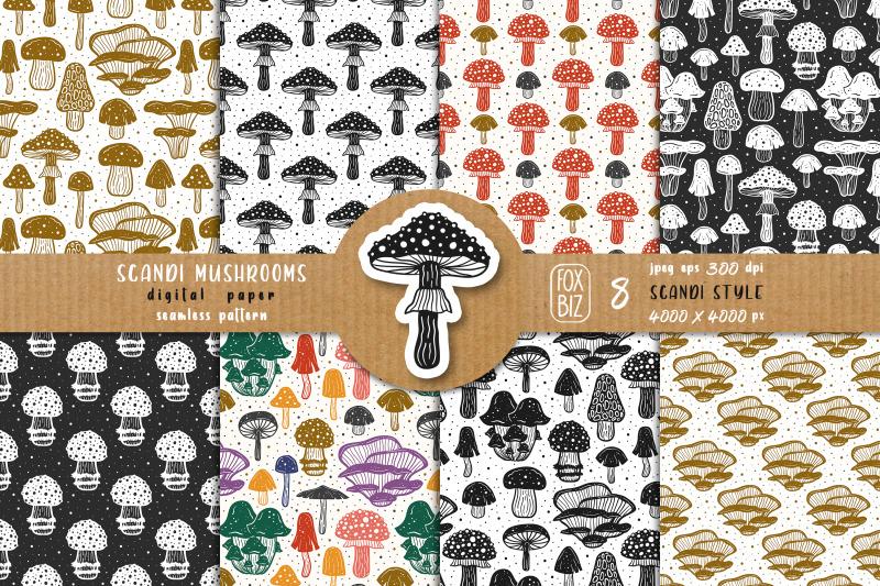 mushrooms-botanical-natural-floral-seamless-patterns