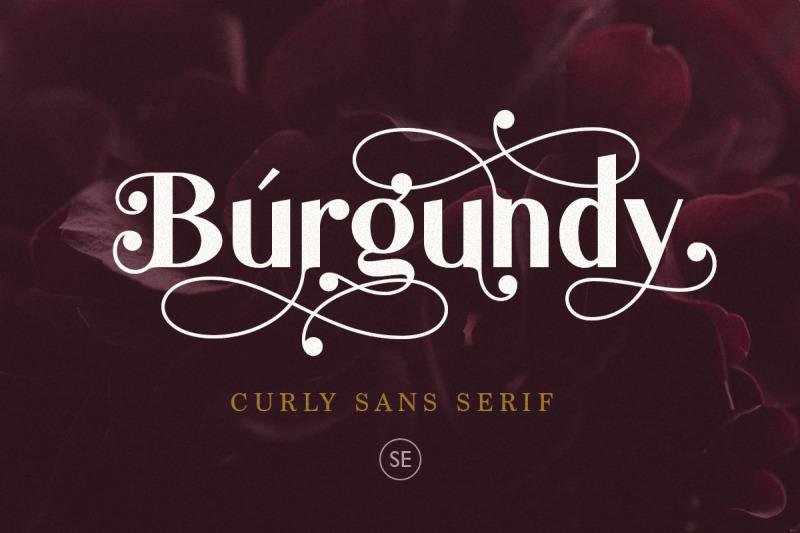 burgundy-curly-sans-serif