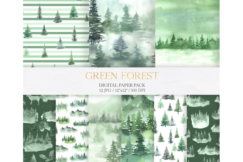 watercolor-green-fores-digital-papers