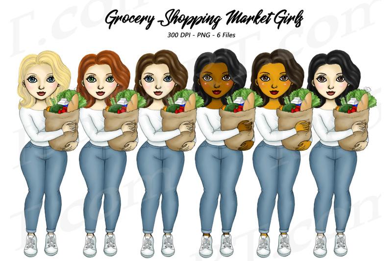 women-grocery-shopping-fashion-girl-clipart-png