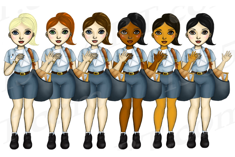 mail-woman-clipart-postal-workers-set-png