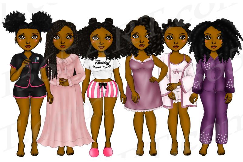black-woman-clipart-natural-hair-pajama-girls-png