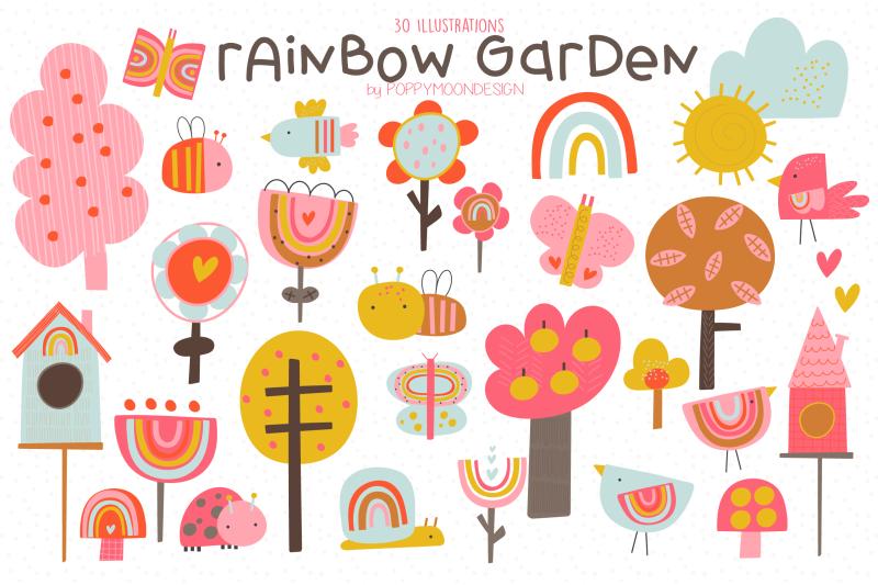 rainbow-garden-clipart-set