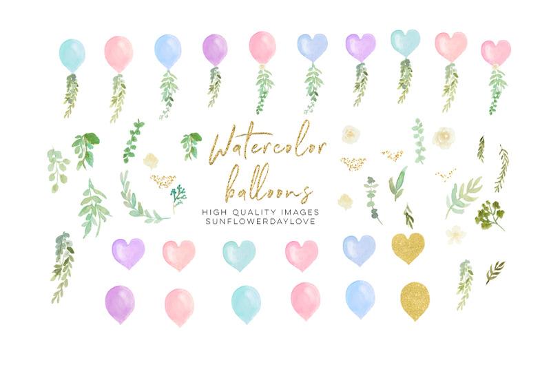 pink-valetine-balloon-blue-heart-balloon-watercolor-clipart-balloon