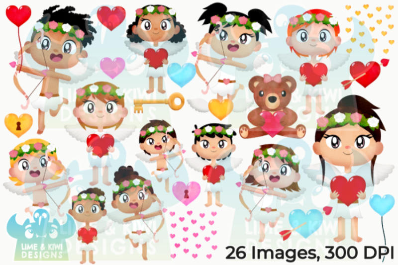 valentine-039-s-day-cherubs-watercolor-clipart-lime-and-kiwi-designs