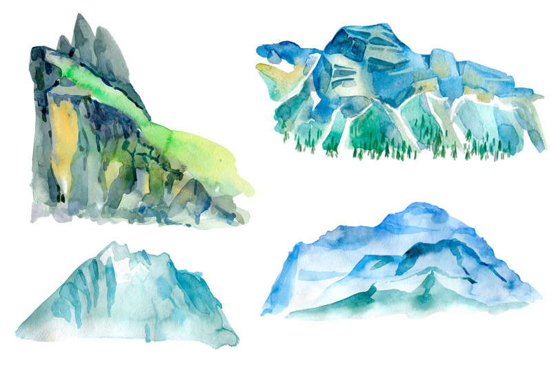 watercolor-mountains-and-conifers