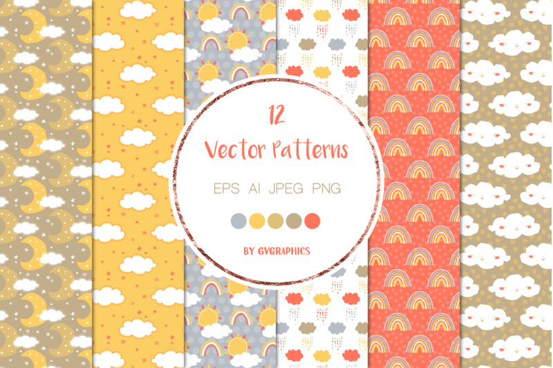 12-sun-clouds-and-rain-vector-patterns-and-seamless-tiles