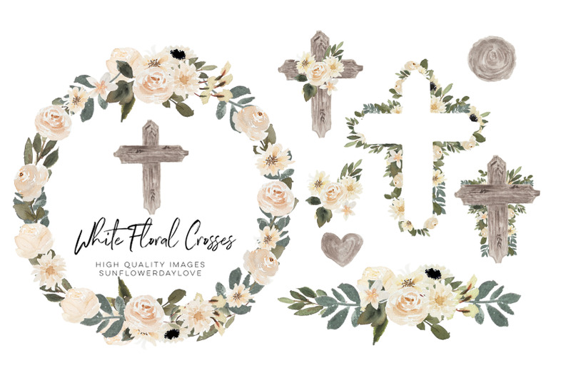 easter-cross-watercolor-clipart-greenery-floral-crosses-green-leaves