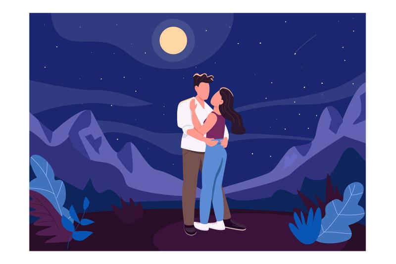 midnight-romantic-date-flat-color-vector-illustration