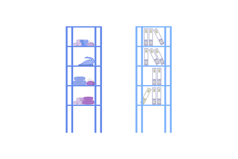 designer-studio-shelves-flat-color-vector-object-set