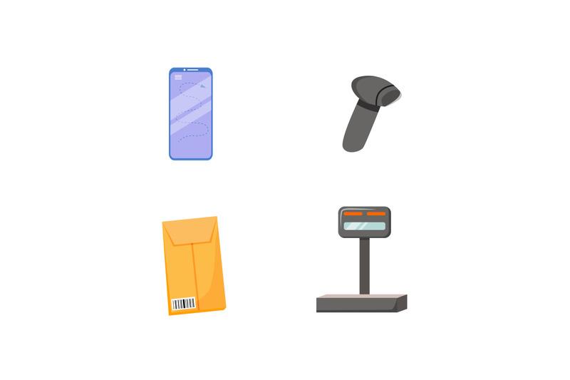 parcel-tracking-flat-color-vector-object-set