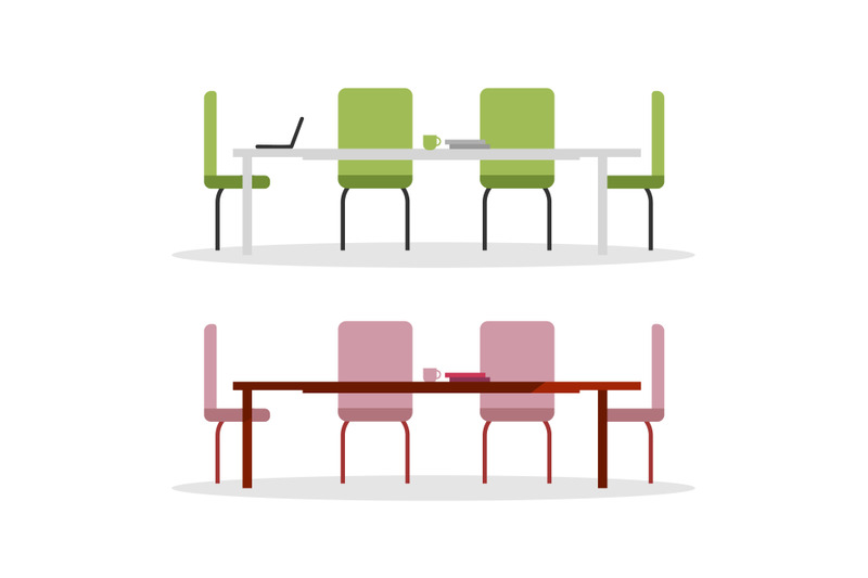 office-tables-flat-color-vector-objects-set